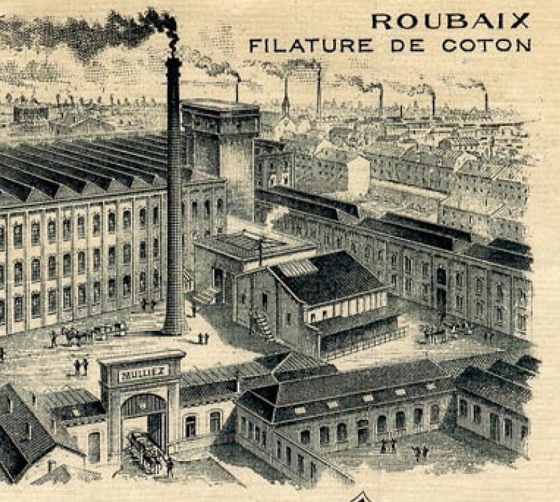 Textilní závod v Roubaix ve Francii na předení bavlny